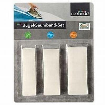 CRELANDO® Bügel-Saumband-Set - Bügelsaumband 3-teilig - weiß (Bügeleisen Kleid Hosen)