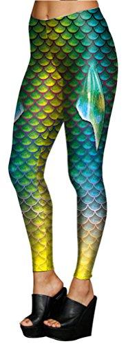 Belsen Damen Meerjungfrau Schwanz Elastic Leggings Pants Bleistifthosen (L, blau) Herstellergrösse 4