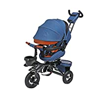 GYF Child Trike,baby Bike Smart Trike Trike For 1 Year Old Fit From 6 Months To 6 Years Trike With Parent Pushing Rod Blue Purple Gray ( Color : Blue )