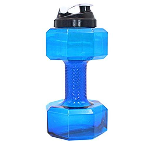 Wasser Flasche, Gusspower PETG 2.2L Hantel Form Water Jug umweltfreundliche Sport Fitness Übung Wasser Krug für Gym, Yoga, Laufen, Draußen, Radfahren und Camping (Blau)