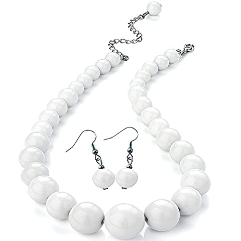 Pure white colour graduated bead choker necklace earring costume jewellery set