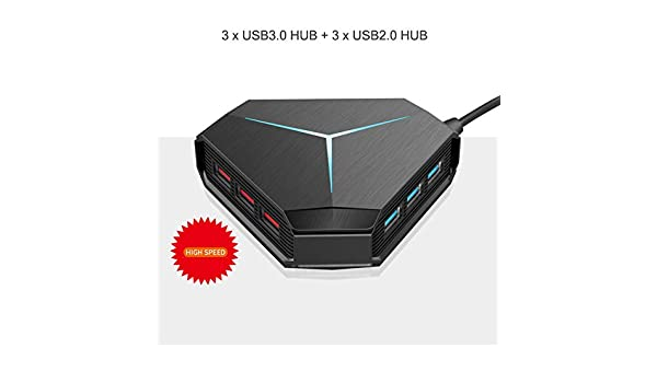 RONSHIN Electronics 6 Port USB Hub Cable Splitter with TF SD Card Reader Mic AUX Cool Light Charging USB 2.0 Hub for Multi-Device Desktop Laptop 6-Port USB2.0+TF//SD Card Reader