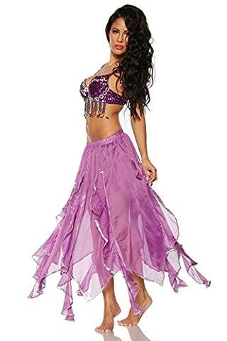 AT Bauchtanz-Kostüm 1001 Nacht Bauchtanzkostüm Tanzkostüm in lila S-L (Über Bauchtanz Kostüme)