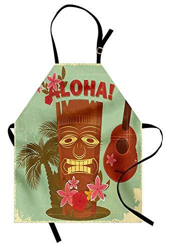 Delantal vintage de Hawaii, imagen hawaiana de la vieja escuela con máscaras, elementos florales, guitarra y palmeras, delantal de cocina unisex con cuello ajustable para cocinar hornear jardinería, m