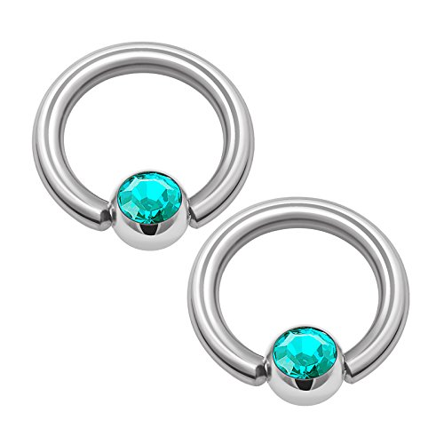 KJM Fashion 2 STK Edelstahl Ball Closure Ring 1,6mm 14g 8mm 4mm Blauer Zirkon Kristallkugel Eyebrow Cartilage Septum Tragus Ohrringe Piercing Schmuck 1353
