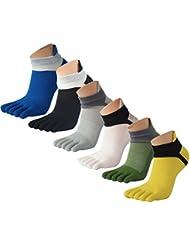 Panegy - Pack de Calcetines de 5 Dedos para Hombres para Deportes Sport Cilclismo Running para Vearno Antideslizante y Transpirable - Dedos de Pies Separados - Algodón - Mixta