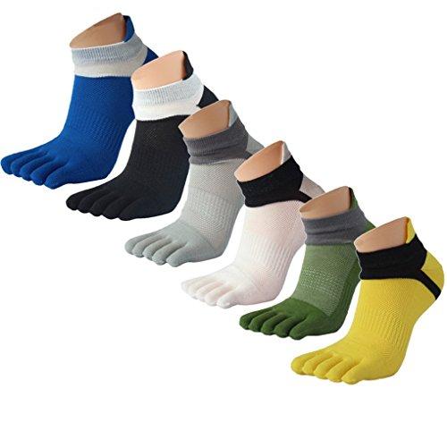 Panegy - Calcetines de 5 Dedos para Hombres (Pack de 6 pares) para Deportes Sport Cilclismo Running para Vearno Antideslizante y Transpirable - Dedos de Pies Separados - Algodón - Mixta 01