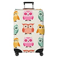 Cute Owls Kids Suitcase Cover Protector Skin Multi-Coloured (Suitcase Not Included)