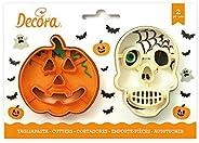 Decora 255067 Tagliapasta per Biscotti Teschio e Zucca, Plastica, Arancio
