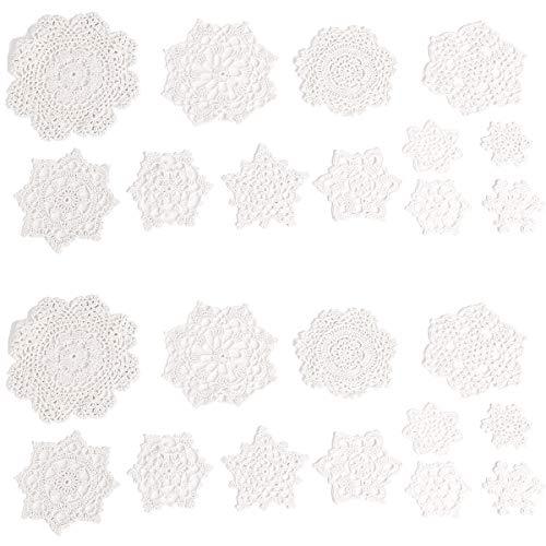 SurePromise One Stop Solution for Sourcing 24x Vintage Lace Crochet Motive Mini Deckchen 7-18cm weiß Weihnachtsdekoration Schneeflocke Blume DIY Craft Fotoalben