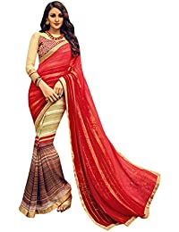 [Sponsored]Craftsvilla Women's Georgette And Satin Embellished Half And Half Multicolor Saree With Blouse Piece