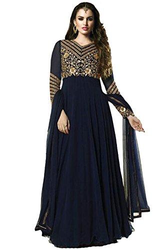 Janasya Women's Blue Georgette Semi-Stiched Dress