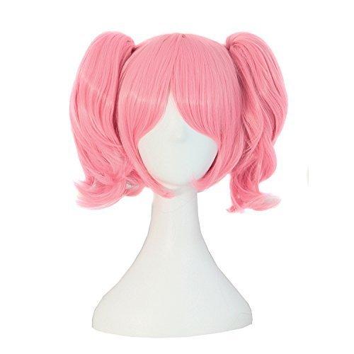 MapofBeauty Lolita rosa kurze gerade geheftet auf Pferdeschwanz Cosplay Perücke