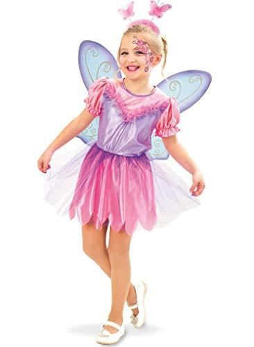 KarnevalsTeufel Kinderkostüm - Set Fee Isabella 2-TLG. Kleid und Flügel, rosa, lila, Märchen, Karneval, Geburtstag, Mottoparty (104)