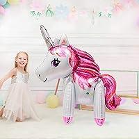 Wayfun Large 3d Unicorn Balloon Foil Balloon, 1pcs Big pink Animal Balloon The Same Size As a Child for Kids Birthday Unicorn Theme Party Baby Shower Decoration Supplies