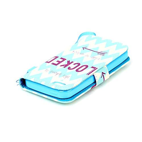 iphone 5c Coque Rabat,Kakashop Apple iphone 5c Pretty Colorée Peinture dreamcatcher bleu Motif Clapet Case avec Fonction de debout et fentes pour cartes, Luxueux PU Cuir Magnétique Portefeuille Housse déverrouiller bleu