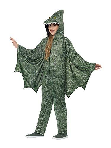Smiffys 45282M - Kinder Flugeidechsen Dinosaurier Kostüm, Einteiler mit Kapuze und Flügeln, Alter: 7-9 Jahre, grün