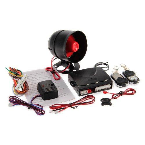 Zimo® Autoalarmanlage Fahrzeugalarm 1-Weg Multifunktions Security System mit 2 Funkfernbedienungen DC 12V