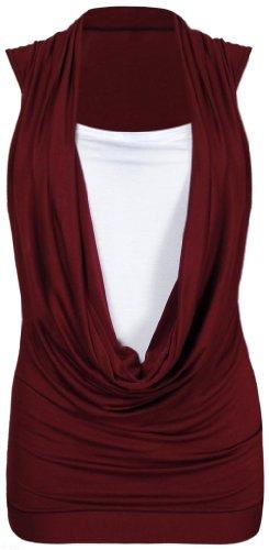 Neu Damen Wasserfallausschnitt Geraffte Halsausschnitt Contrast Einsatz Damen Ärmellos Stretch Langes Top T-Shirt Top Rot - Rot