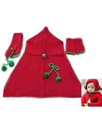 BONAMART ® N1 Baby Kinder Winter Hut Warm Winterhut Mütze +Schal + Handschuhe Set Rot