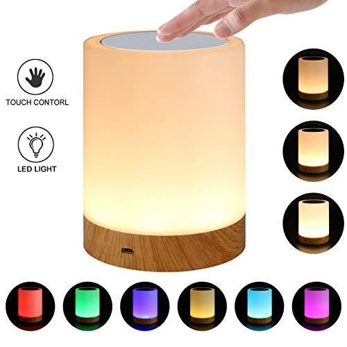 RQINW Nachttischlampe, Berührungssensor, Dimmbar, Farbwechsel LED Nachtlicht Für Schlafzimmer-Geschenk Für Frau Männer Kinder, 3,54 In * 4,72 In -