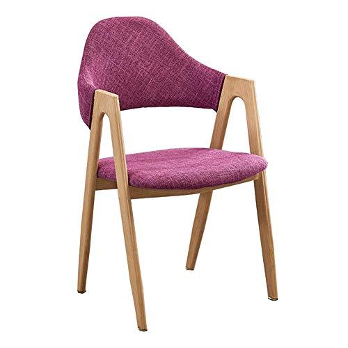 Dall Chaise De Salle À Manger Bois Massif Chaise De Table Simple Solide Chaise Longue Pieds en Acier Au Carbone 50x40x80cm (Couleur : Purple)
