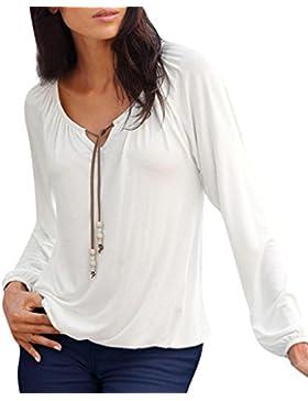 OverDose camisetas blusas manga larga para mujer V cuello tops bowknot sólido tallas grandes