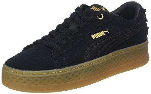 Puma Damen Smash Platform Frill Sneaker, Schwarz (Puma Black-Puma Black-Puma Team Gold 1), 40 EU (6.5 UK)