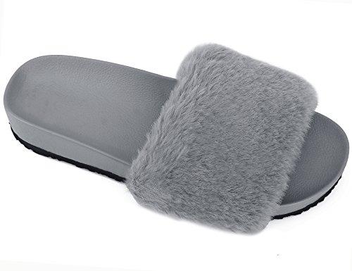 MaxMuxun Max Muxun Damen Pantoletten Synthetische Pelz Slipper Sandalen Grau Größe 40EU (Für Schuhe Pumpen Verkauf Frauen Auf)