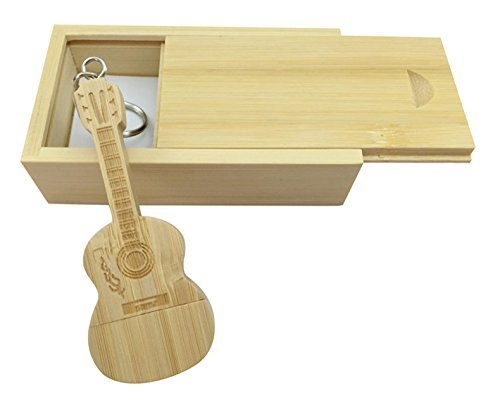 Chiavetta usb in legno di acero a forma di chitarra in scatola di legno bamboo wood 3.0/64gb