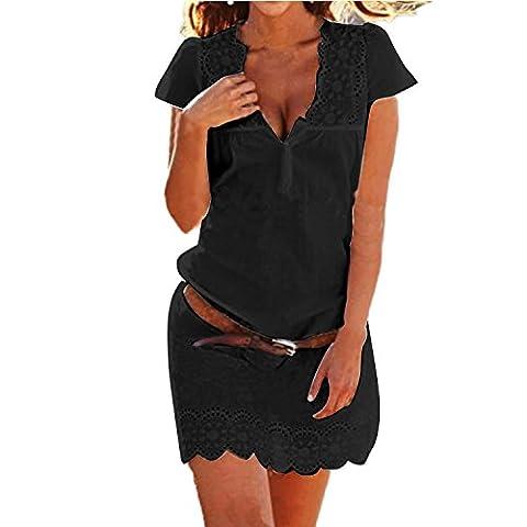 Minetom Femmes D'été V profond Robe De Plage Tunique Robe Dentelle Floral Party Mini Robe Sans Ceinture Noir FR 36