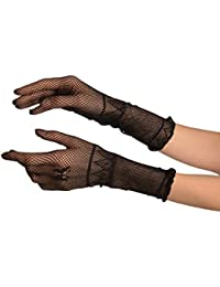 Small Hands Black Fishnet Butterfly Gloves - Noir Gants Taille Unique