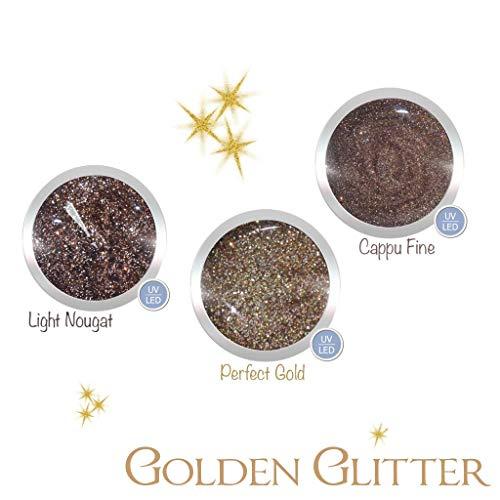 Glittergel für Gelnägel im Set Golden Glitter | UV LED Nagelgel | 3x 5 ml | Farben: Light Nougat/Braun, Perfect Gold/Gold, Cappu Fine/Braun | Gel hochpikmentiert