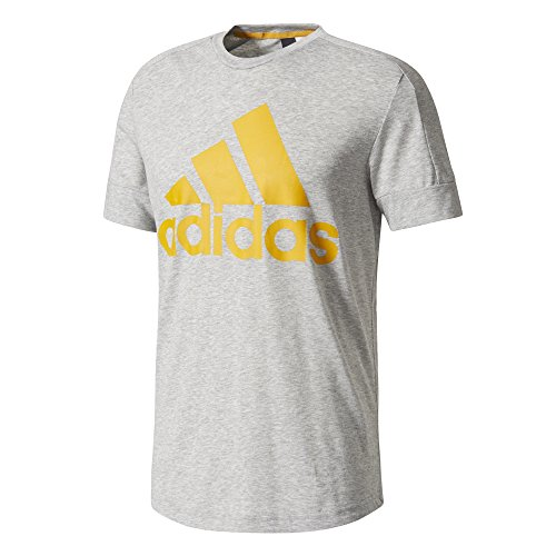 adidas Herren ID Big Logo T-Shirt, Medium Grey Heather/Tactile Yellow, S (Adidas Grey Logo-t-shirt)