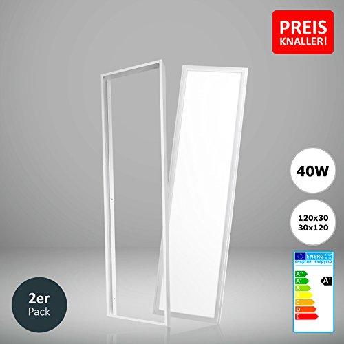 2x Xtend LED Panel 120x30 neutralweiß 40W 4000K PMMA nicht dimmbar inkl. Aufputz-Montagerahmen weiß und Netzteil