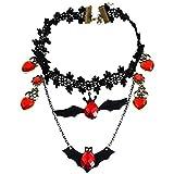 Vi.yo Collar de Halloween-Collar de Encaje de Halloween Palo Negro Collar de corazón en Forma de Vintage joyería de Halloween para niñas Mujeres