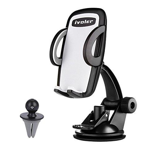 iVoler® [2-in-1] Supporto Auto Smartphone, Universale Porta Cellulare Auto per Bocchette dell'aria/Cruscotto/Parabrezza, 360 Gradi di Rotazione per GPS, iPhone 7...
