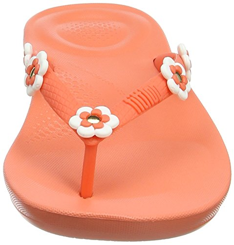 Fitflop iQushion Ergonomic Flip Flop Flower-Stud, Infradito Donna Yellow (Sunshine Coral 580)