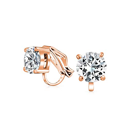 2Ct Brillanten Solitär Runden Zirkonia CZ Ohrclips Ohrstecker Für Damen Rose Vergoldet Messing