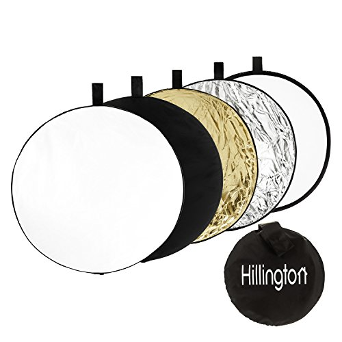 Hillington® Portable 5in 1Professional Photo Studio Reflektor Kit mit Tragetasche mit Reißverschluss–inkl. durchscheinend, silber, gold, weiß, und Schwarz Rund 60cm Fotografie Scheiben–Fill In, reflektieren, Zerstreuen, absorbieren und weichermachen Licht für Professional Photo Shoot Ergebnisse–langlebig und flexibler Stahlrahmen zusammenfaltbar für einfache Aufbewahrung und Transport–passt jede Standard-Reflektor Halter - 1 Reflektor-kit