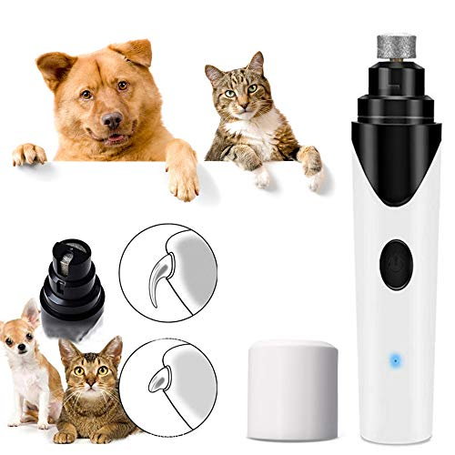 Elektrischer Haustier-Nagelschleifer Wenig Lärm Hund Nagelknipser Sehr leise Diamant-Bitschleifer Wiederaufladbare Pet Nail Trimmer für große, kleine, mittelgroße Hunde und Katzen -