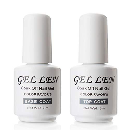 Top Base Coat Semi Permanent UV LED - Gellen Vernis à Ongles Soak off Nail Polish Manucure 2×8ml