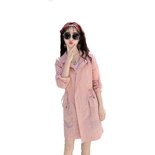 Sonnenschutz-Kleidung Damen-Dünnmantel Schnell Trocknend Sonnenschutz-Kleidung Ein Long-Style Hooded Windbreaker. (Größe : L) (Waten Korb)
