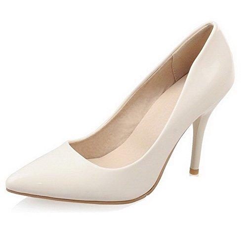 VogueZone009 Damen Ziehen Auf Stiletto Lackleder Rein Spitz Zehe Pumps Schuhe Cremefarben