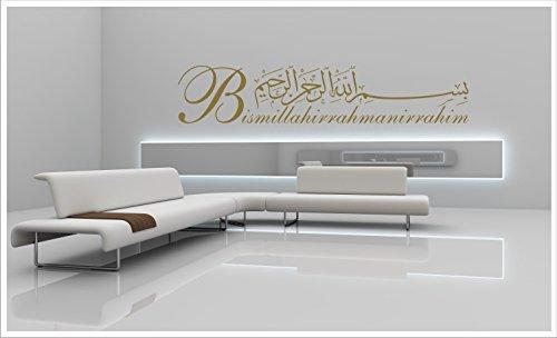biseler24 - Wandtattoo Besmele Islam Allah Bismillah Aufkleber Arabisch Türkiye Istanbul + Original Verklebeanleitung Besmele-11 (120 cm x 28 cm, Gold)
