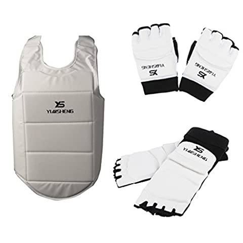 Gazechimp PU Leder Fußschutz + Handschuhe + Brustschutz für Taekwondo