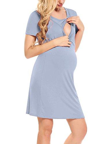 HOTOUCH Damen Umstandskleid Maternity Schwanger Kleid Schwangerschafts Stahlblau XL (Nachtwäsche Kleid)