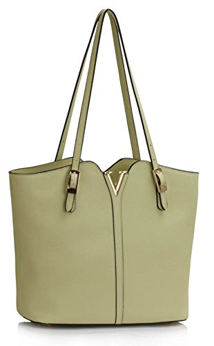 LeahWard® Damen Mode-Berühmtheit Qualität Kunstleder V Schulter Hobos Tasche Damen Essener Schnell verkaufend Käufer Handtasche CWS00409 (Grau/Beige) - Chloe Hobo