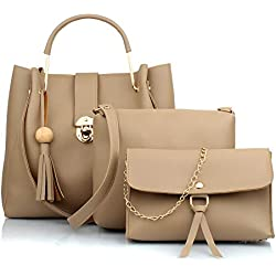 Mammon Women's PU Leather Handbag Combo (3L-bib-Cream)