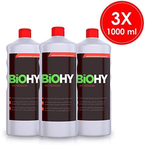 BIOHY WC-Reiniger 3er Pack (3x1Liter) Öko Urinsteinentferner extra stark, Toilettenreiniger Konzentrat, dickflüssiges Reinigungs-Gel, Hygiene&Frische Duft, Profi Bio-Reiniger, Reinigungsmittel -